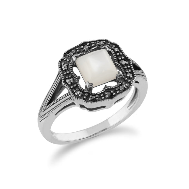 Gemondo 925 Sterling Silver 0.58ct Mother of Pearl & Marcasite Art Deco Ring Image 2