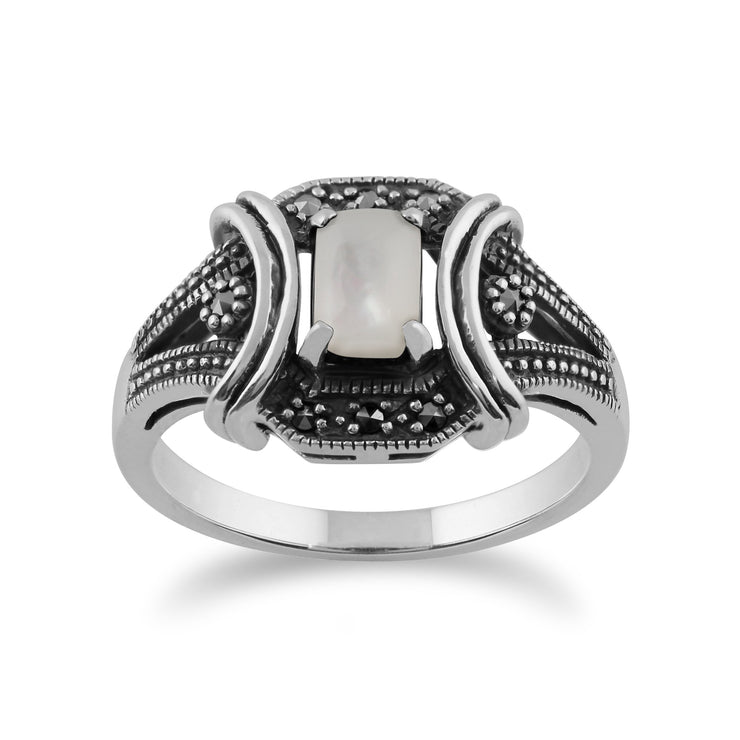 Art Deco Style Mother of Pearl Cabochon & Marcasite Ring in 925 Sterling Silver