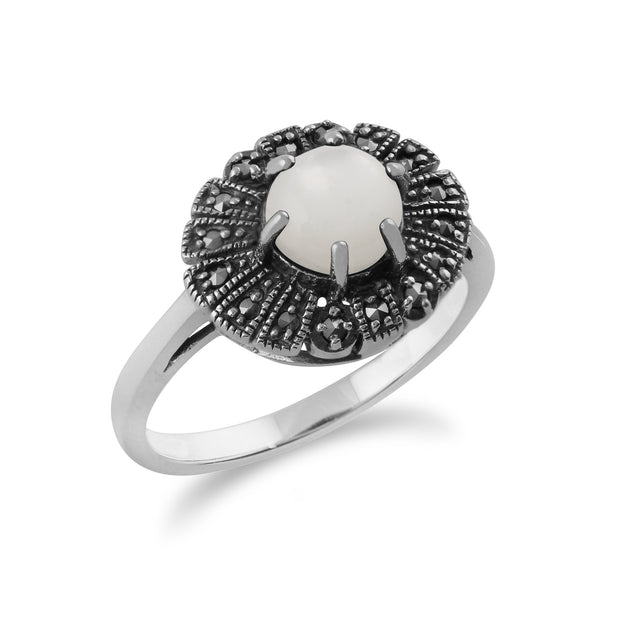 Gemondo 925 Sterling Silver 0.85ct Mother of Pearl & Marcasite Art Deco Ring Image 2
