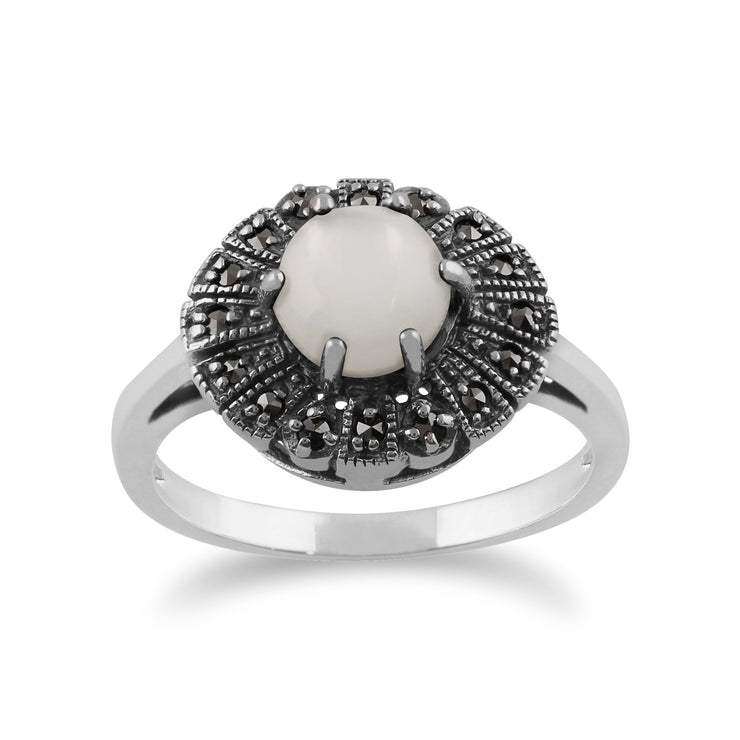 Gemondo 925 Sterling Silver 0.85ct Mother of Pearl & Marcasite Art Deco Ring Image 1