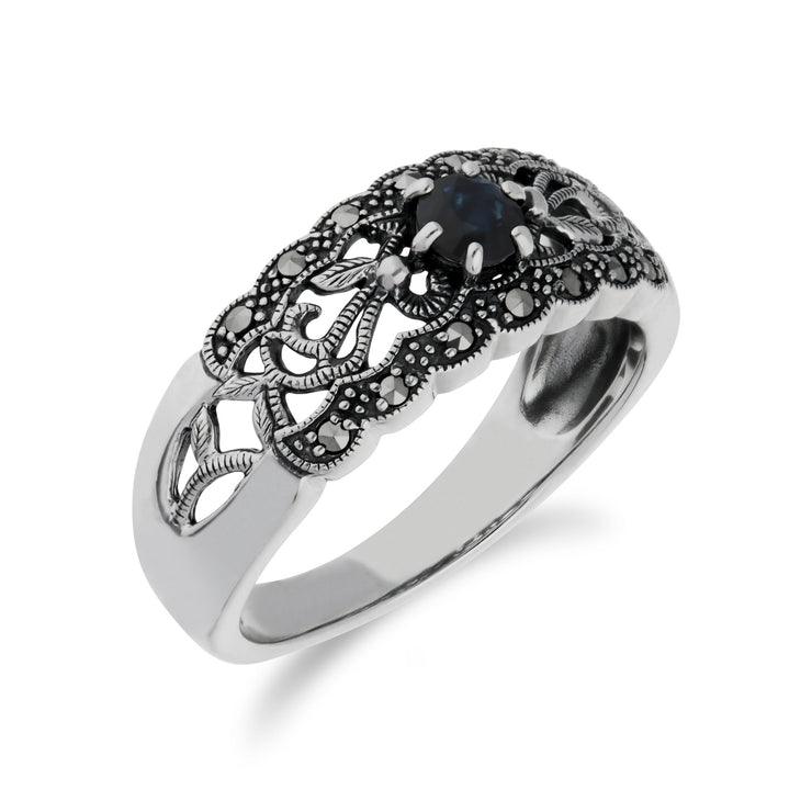 Art Nouveau Style Sapphire & Marcasite Band Ring Image 2