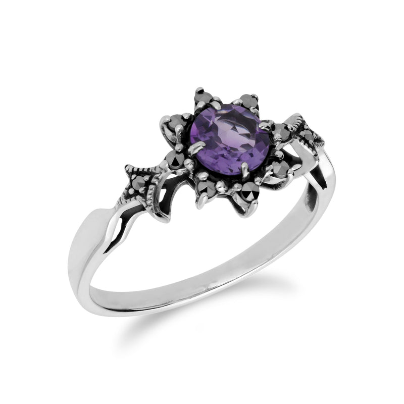 Art Deco Style Amethyst Floral Ring Image 2