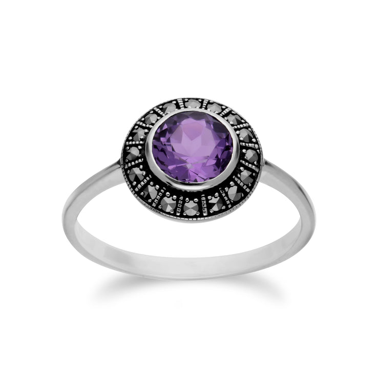 Art Deco Style Amethyst & Marcasite Halo Ring Image 1