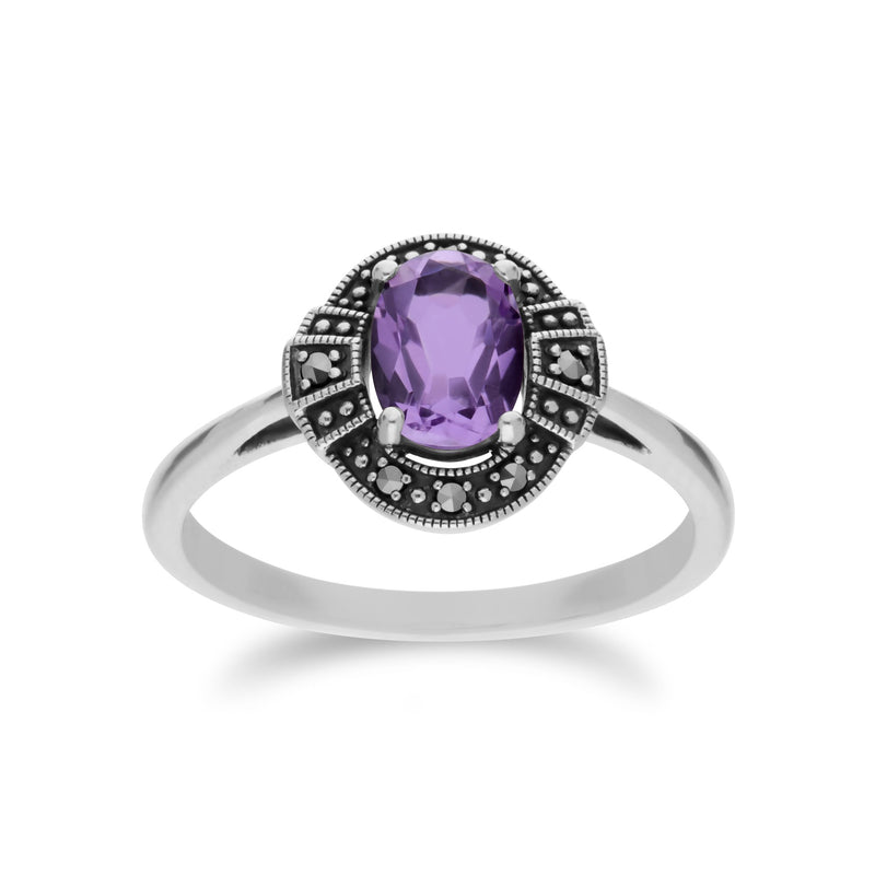 Art Deco Style Oval Amethyst Halo Ring Image 1