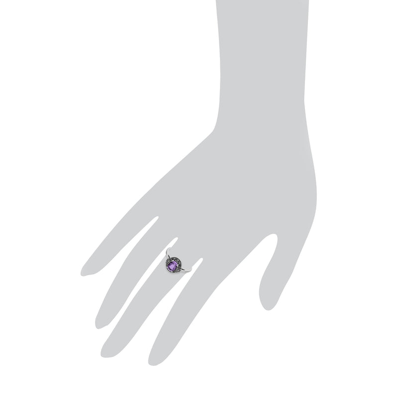 Art Deco Style Oval Amethyst Halo Ring Image 3