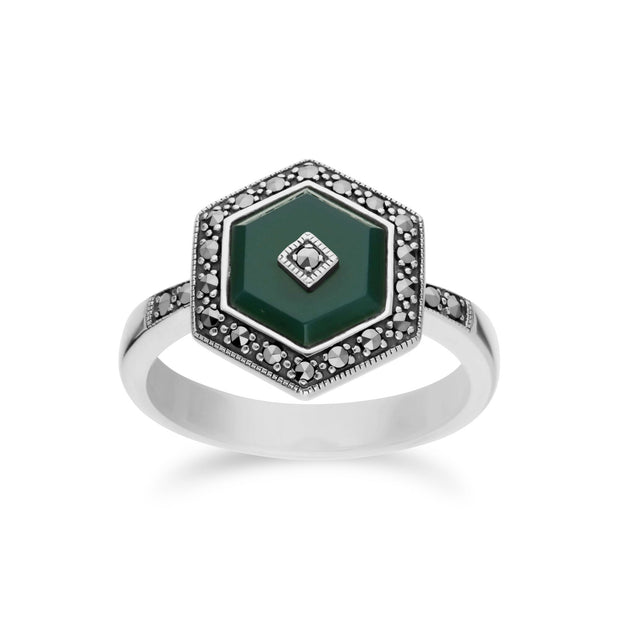Art Deco Style Green Chalcedony Hexagon Ring Image 1