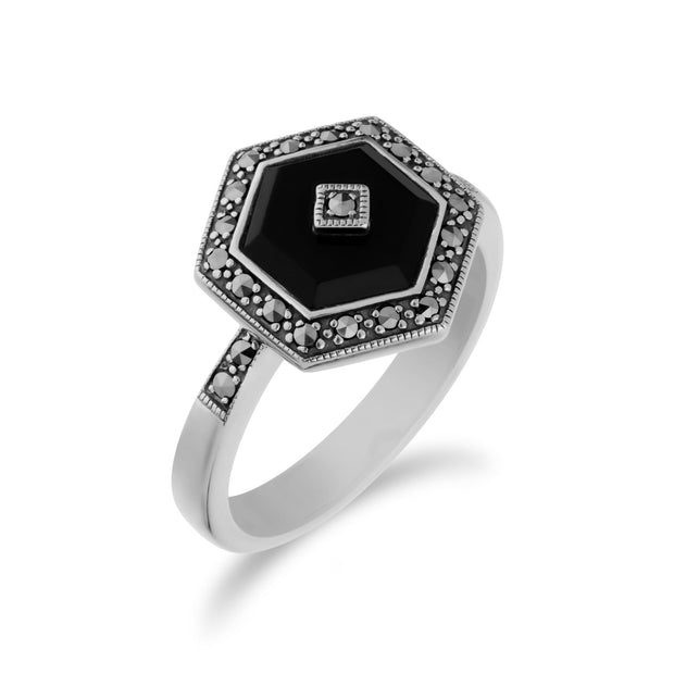 Art Deco Style Black Onyx Hexagon Ring Image 2
