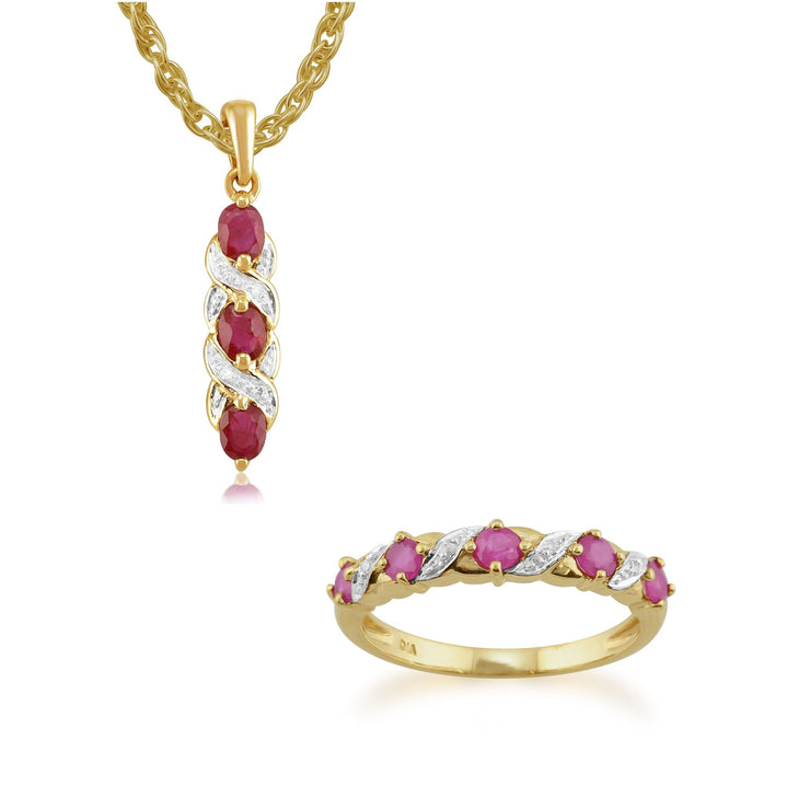 Classic Ruby & Diamond Twist Pendant & Half Eternity Ring Set Image 1