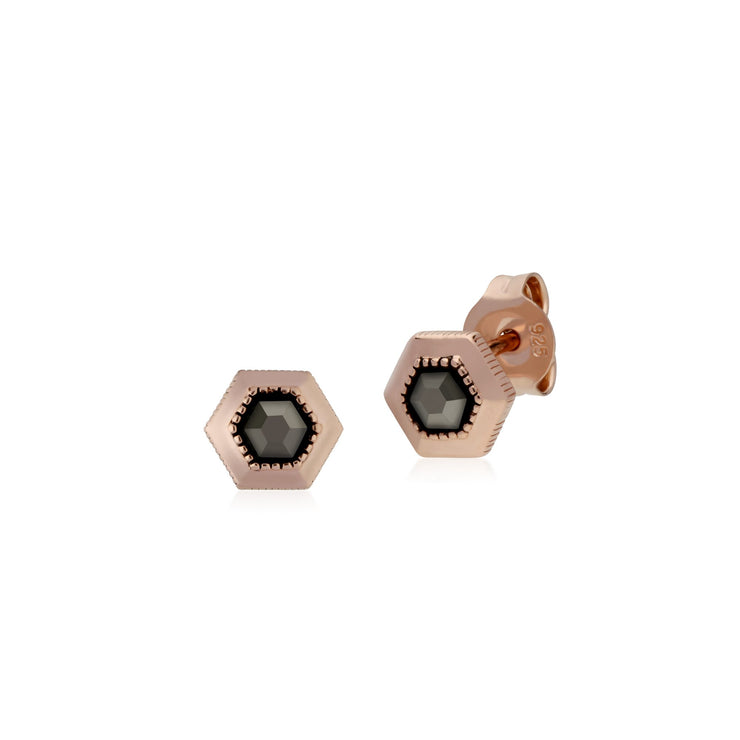 Rose Gold Marcasite Hexagon Marcasite Stud Earrings Image 1