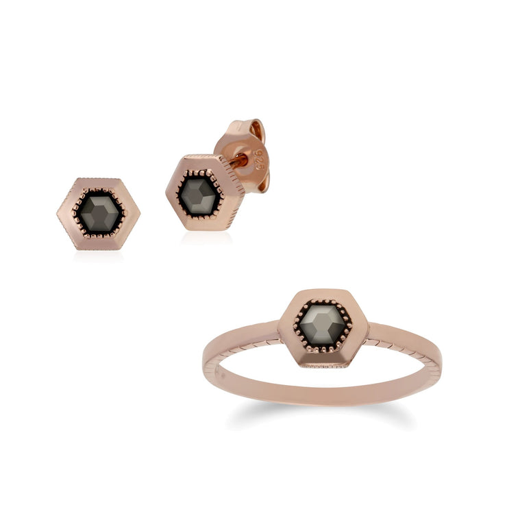 Rose Gold Plated Marcasite Dotted Stud & Ring Set Image 1