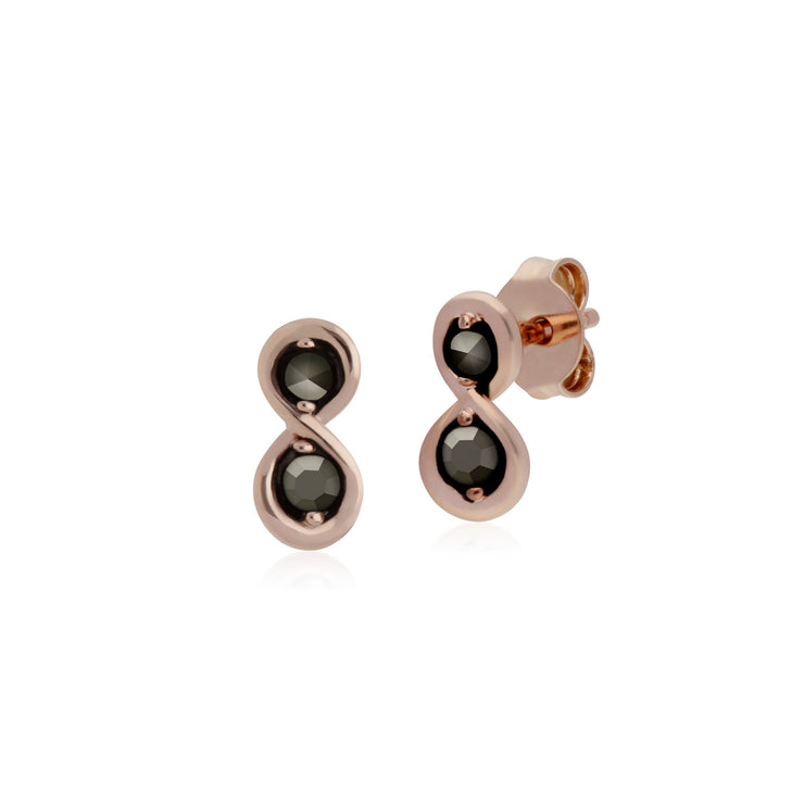 Rose Gold Marcasite Infinity Marcasite Stud Earrings Image 1