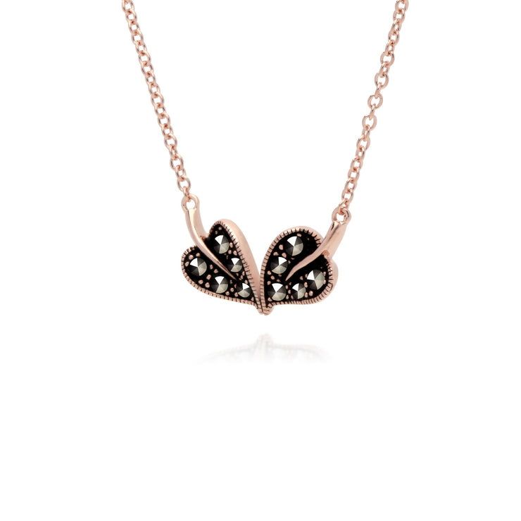 Rose Gold Marcasite Leaf Marcasite Necklace Pendant Image 2