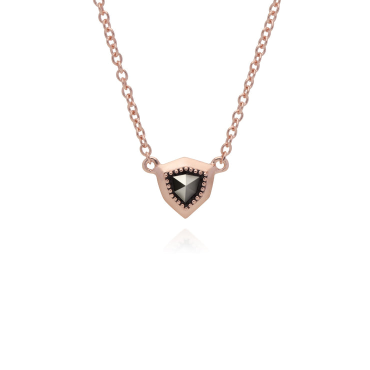 Rose Gold Marcasite Shield Marcasite Pendant Necklace Image 1