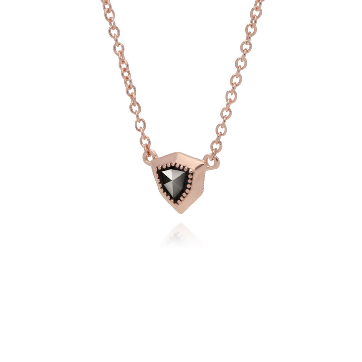 Rose Gold Marcasite Shield Marcasite Pendant Necklace Image 2