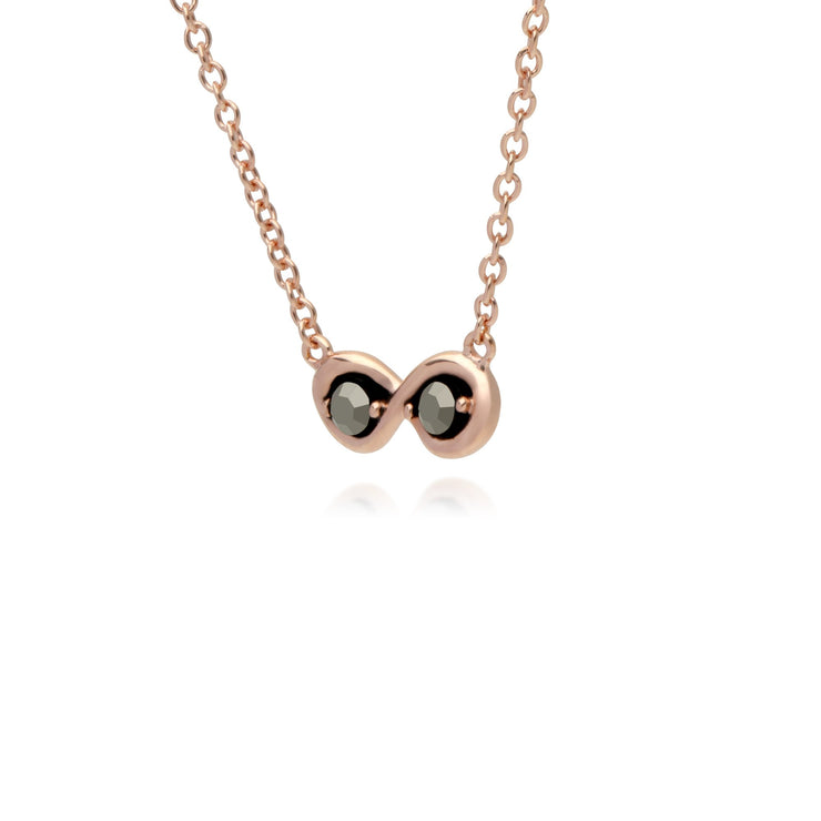 Rose Gold Marcasite Infinity Marcasite Pendant Necklace Image 2