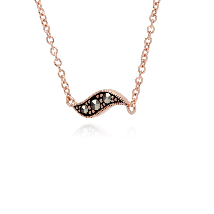 Rose Gold Marcasite Pea Pod Marcasite Pendant Necklace Image 2