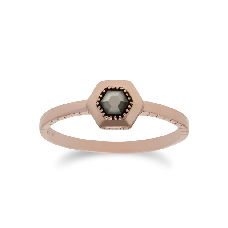 Rose Gold Plated Marcasite Dotted Stud & Ring Set Image 3