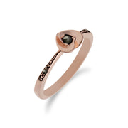 Rose Gold Marcasite Heart Ring Image 2