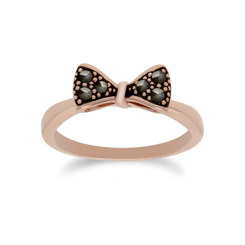 Rose Gold Marcasite Bow Ring Image 1