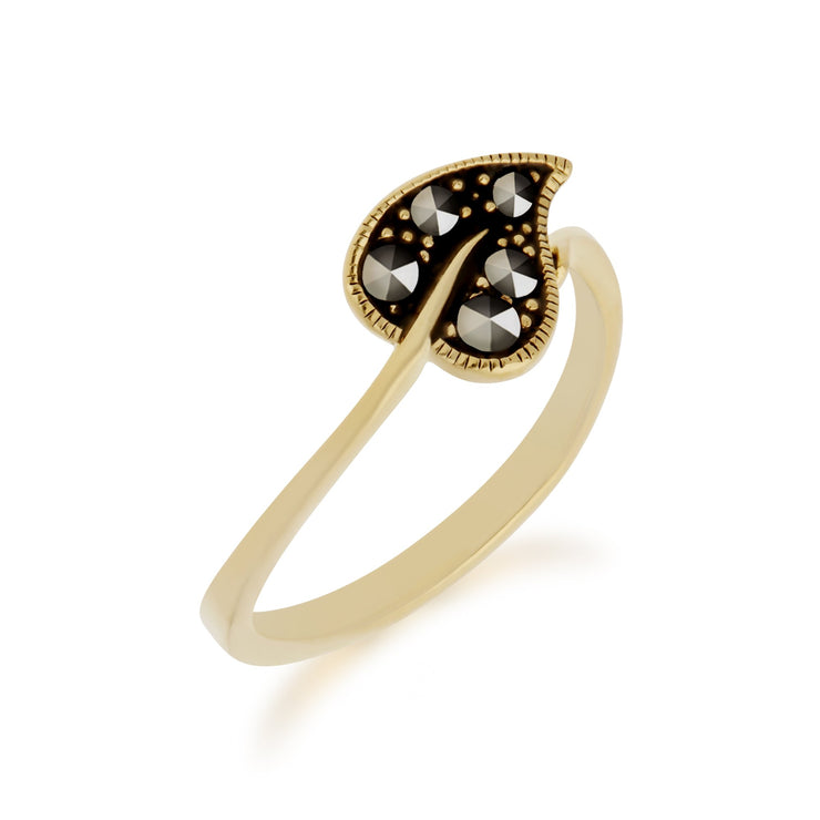 Gold Plated Marcasite Leaf Wrap Ring Image 2