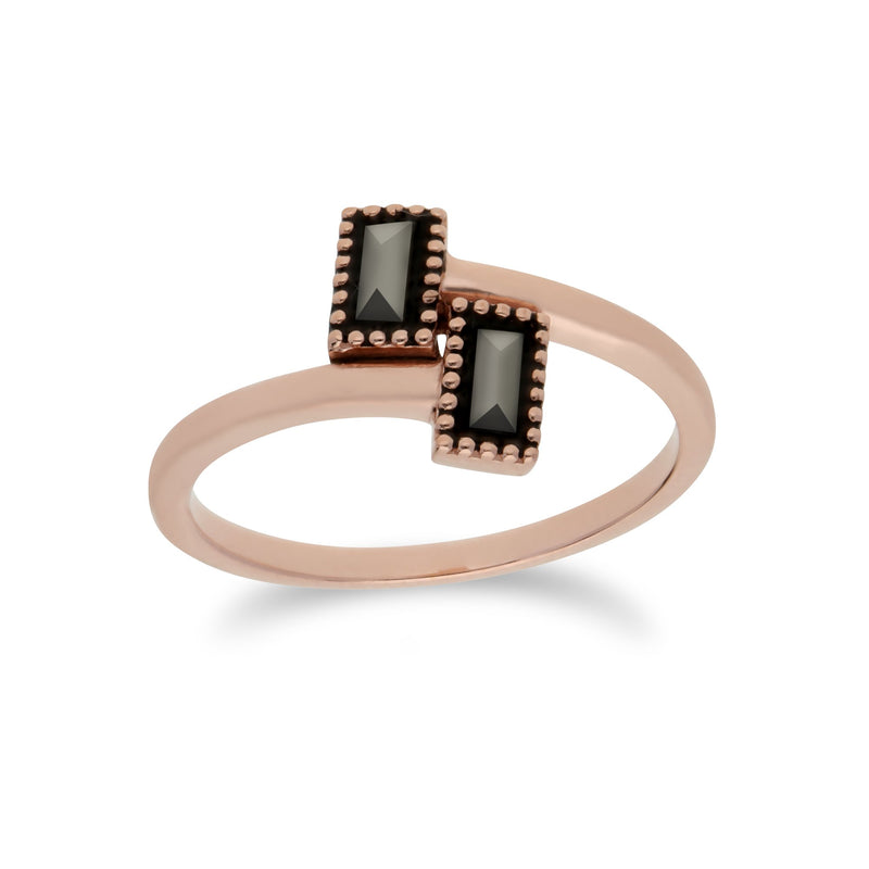 Rose Gold Marcasite Rectangle Wrap Ring Image 1