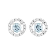 Classic Aquamarine Stud Earrings & Diamond Round Ear Jacket Image 1