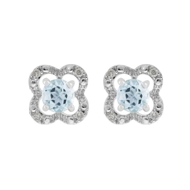 Classic Aquamarine Stud Earrings & Diamond Flower Ear Jacket Image 1