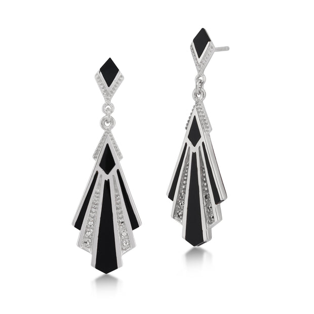 Art Deco Black Onyx & Marcasite Drop Earrings Image 1