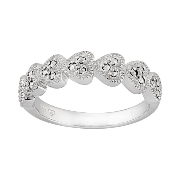 Classic Marcasite Five Heart Ring Image 1