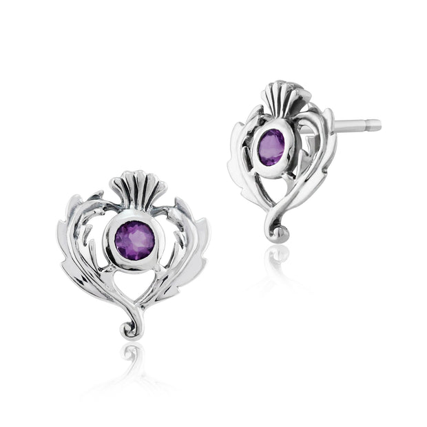 Art Nouveau Amethyst Thistle Stud Earrings Image 1