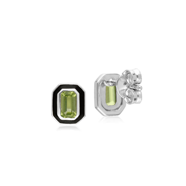 Geometric Peridot & Black Enamel Stud Earrings Image 2