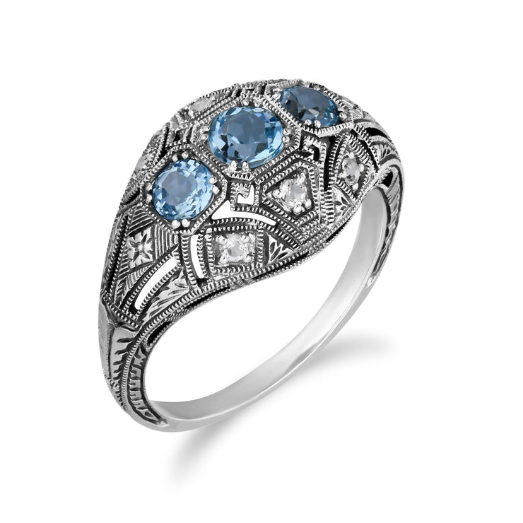 Art Deco Style Blue Topaz Three Stone Ring Image 2