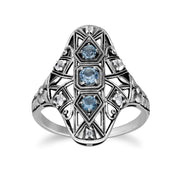 Art Nouveau Style Blue Topaz Three Stone Statement Ring Image 1