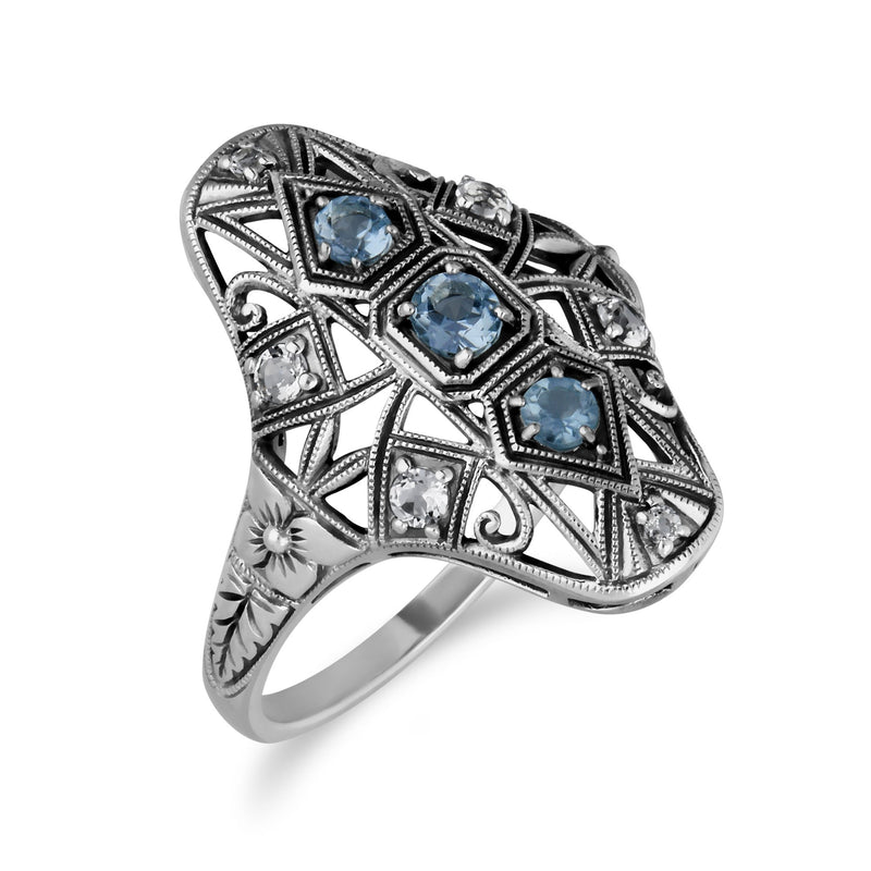 Art Nouveau Style Blue Topaz Three Stone Statement Ring Image 2