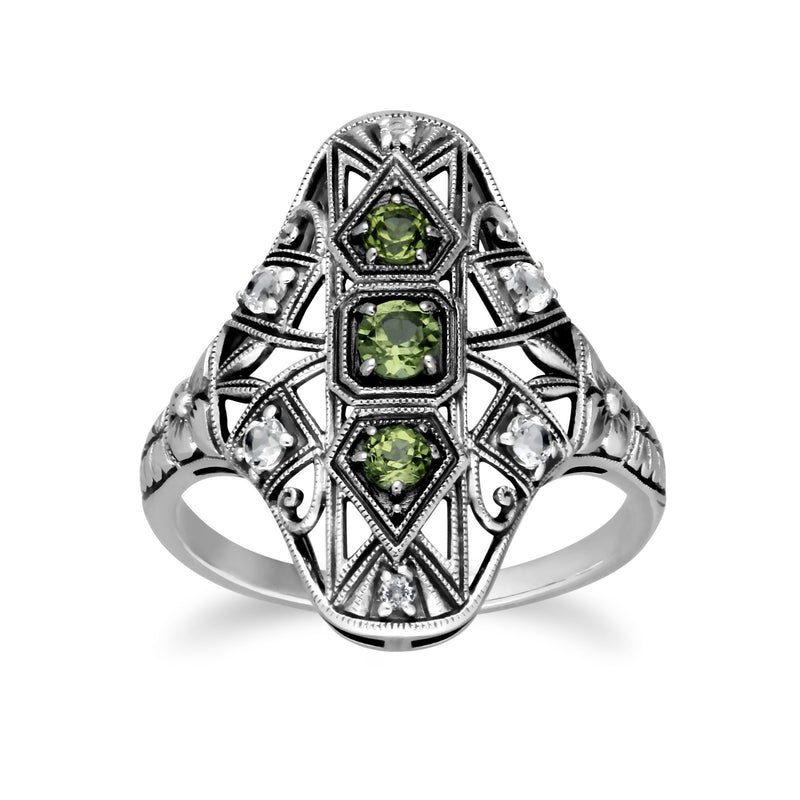 Art Nouveau Style Peridot Three Stone Statement Ring Image 1