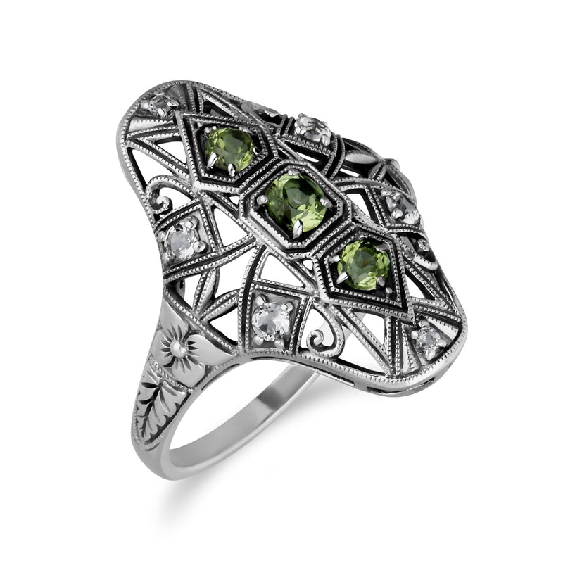 Art Nouveau Style Peridot Three Stone Statement Ring Image 2