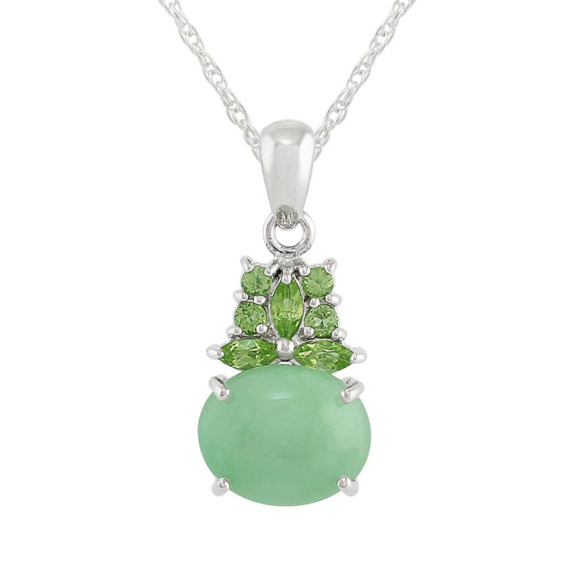 Classic Jade & Peridot Cluster Pendant on Chain Image 1