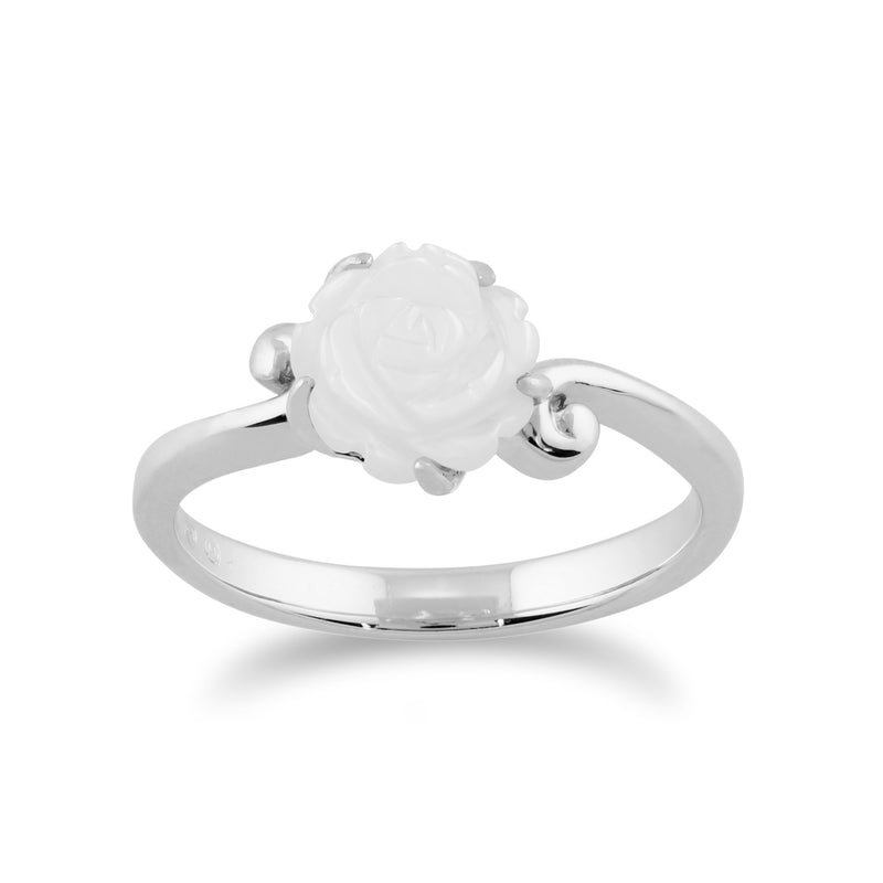 Floral Mother of Pearl Rose Ring Image 1