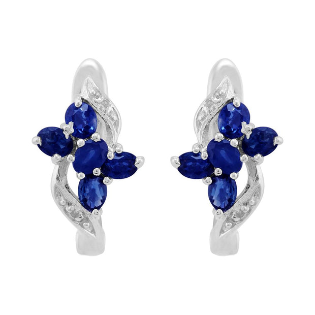 Classic Sapphire & Diamond Butterfly Hoop Earrings Image 1