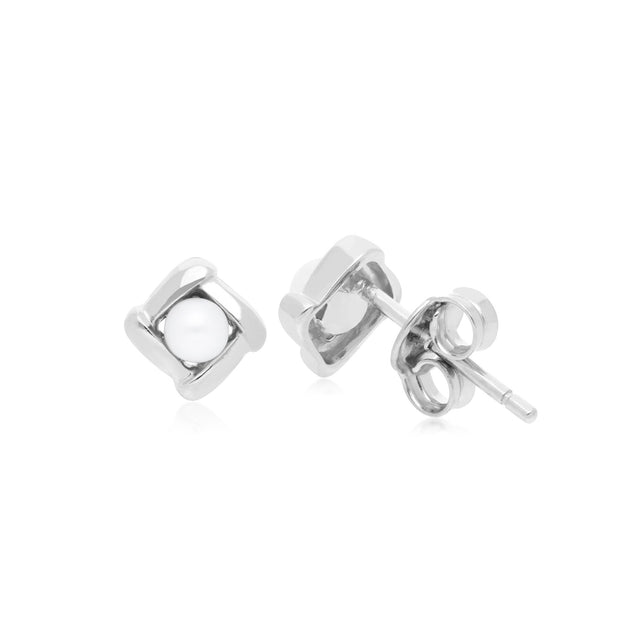 Classic Pearl Crossover Studs Earrings Image 2