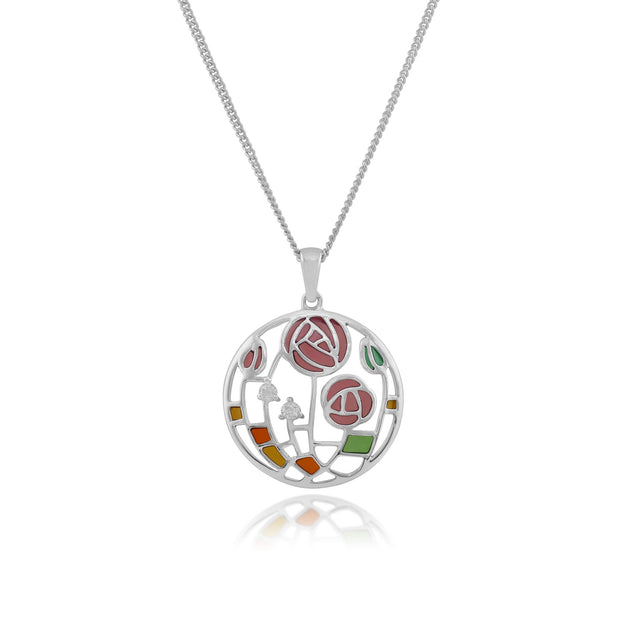 Rennie Mackintosh Topaz Rose Circle Pendant Image 1
