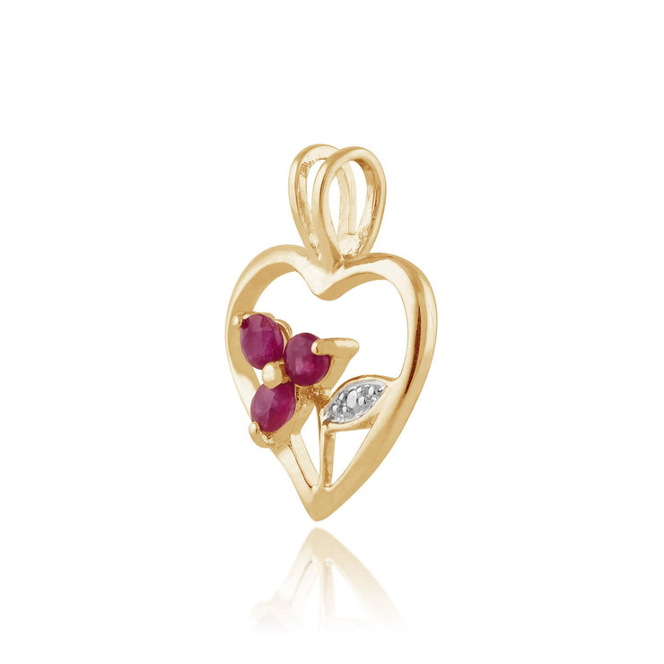Floral Ruby Heart Pendant on Chain Image 2