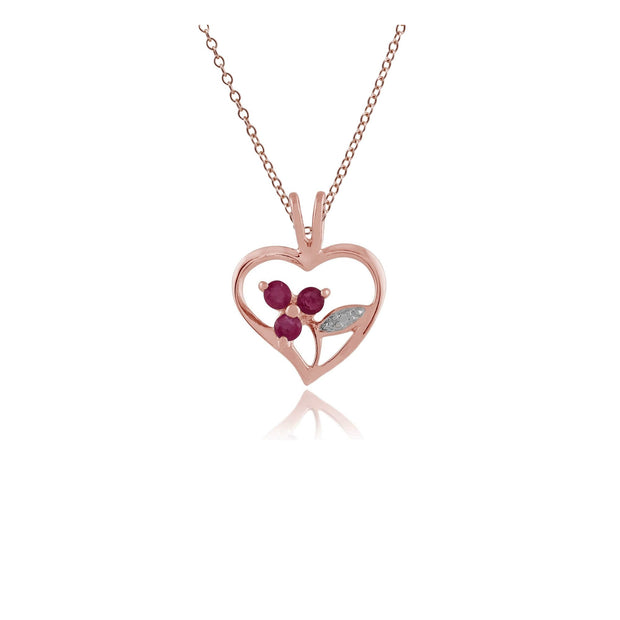 Floral Ruby Heart Pendant on Chain Image 1