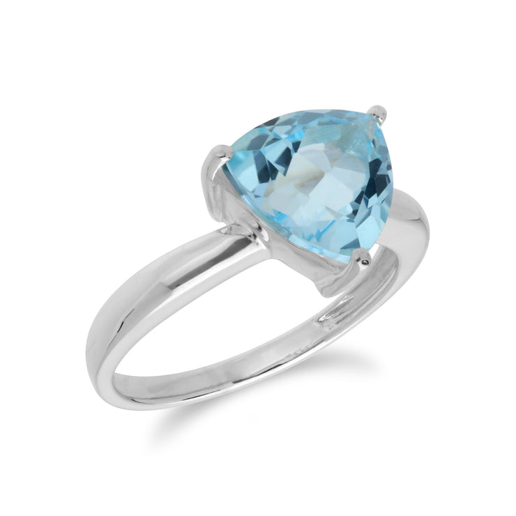 Geometric Blue Topaz Triangle Ring Image 2