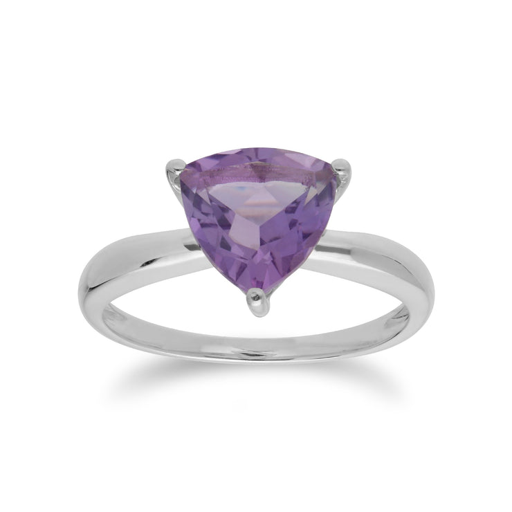 Geometric Amethyst Triangle Ring Image 1