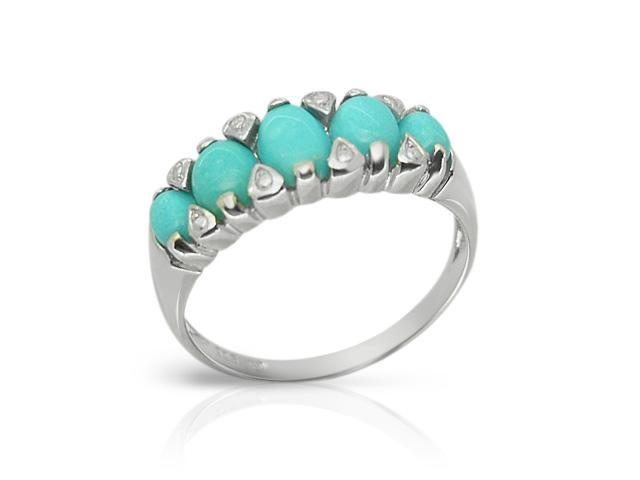 Art Deco Style Turquoise Five Stone Ring Image 1