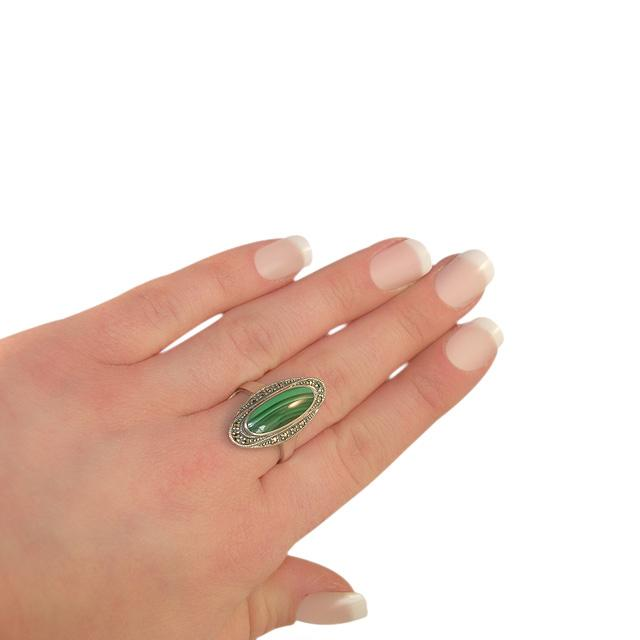 Art Deco Style Malachite Cocktail Ring Image 3