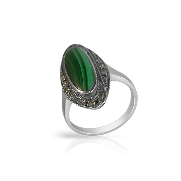 Art Deco Style Malachite Cocktail Ring Image 1