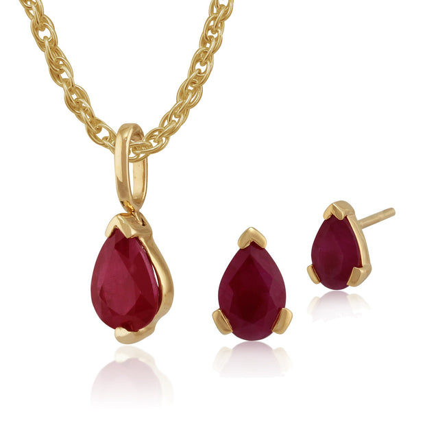Classic Ruby Stud Earrings & Pendant Set Image 1