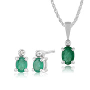 Classic Emerald & Diamond Stud Earrings & Pendant Set Image 1